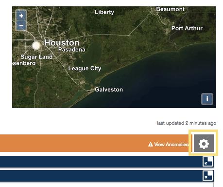 Statistics page gear icon location