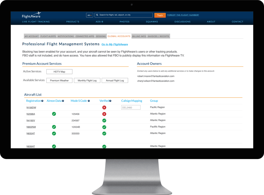 FlightAware Global Account Management Interface